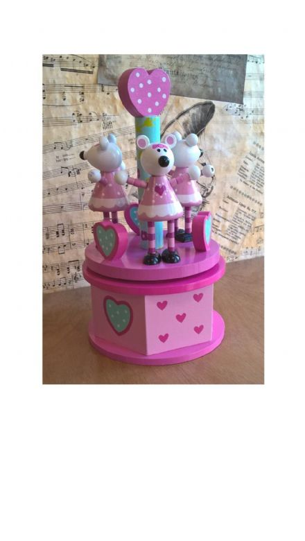 Pink Mouse Wooden Carousel